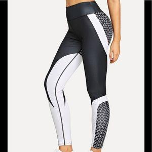 Pants - Black Whitt Color-block Leggings